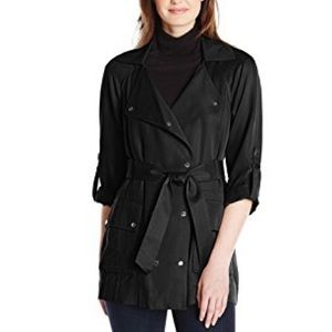 Vince Camuto Soft Double Breasted Black Trench L